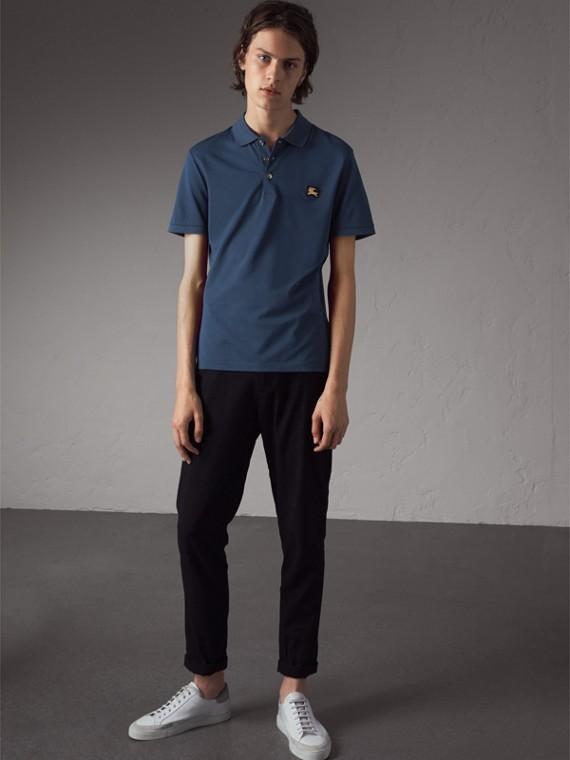 Camisa polo de algodão piquê (Azul Aço)