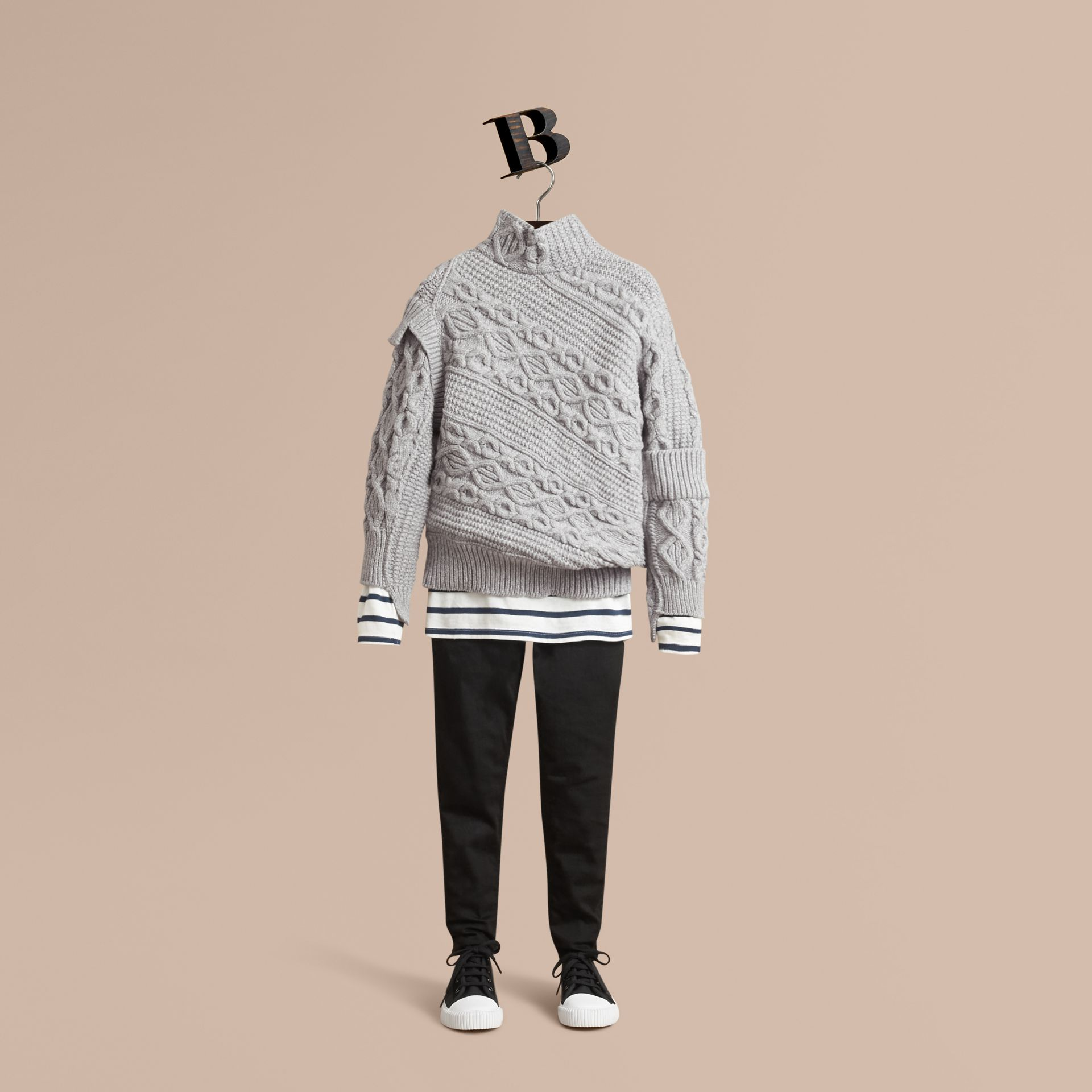 Cable and Rib Knit Collage Cotton Blend Sweater in Pale Grey Melange - Boy | Burberry - gallery image 1