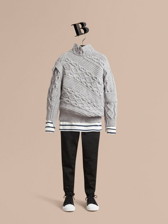 Cable and Rib Knit Collage Cotton Blend Sweater - Boy | Burberry