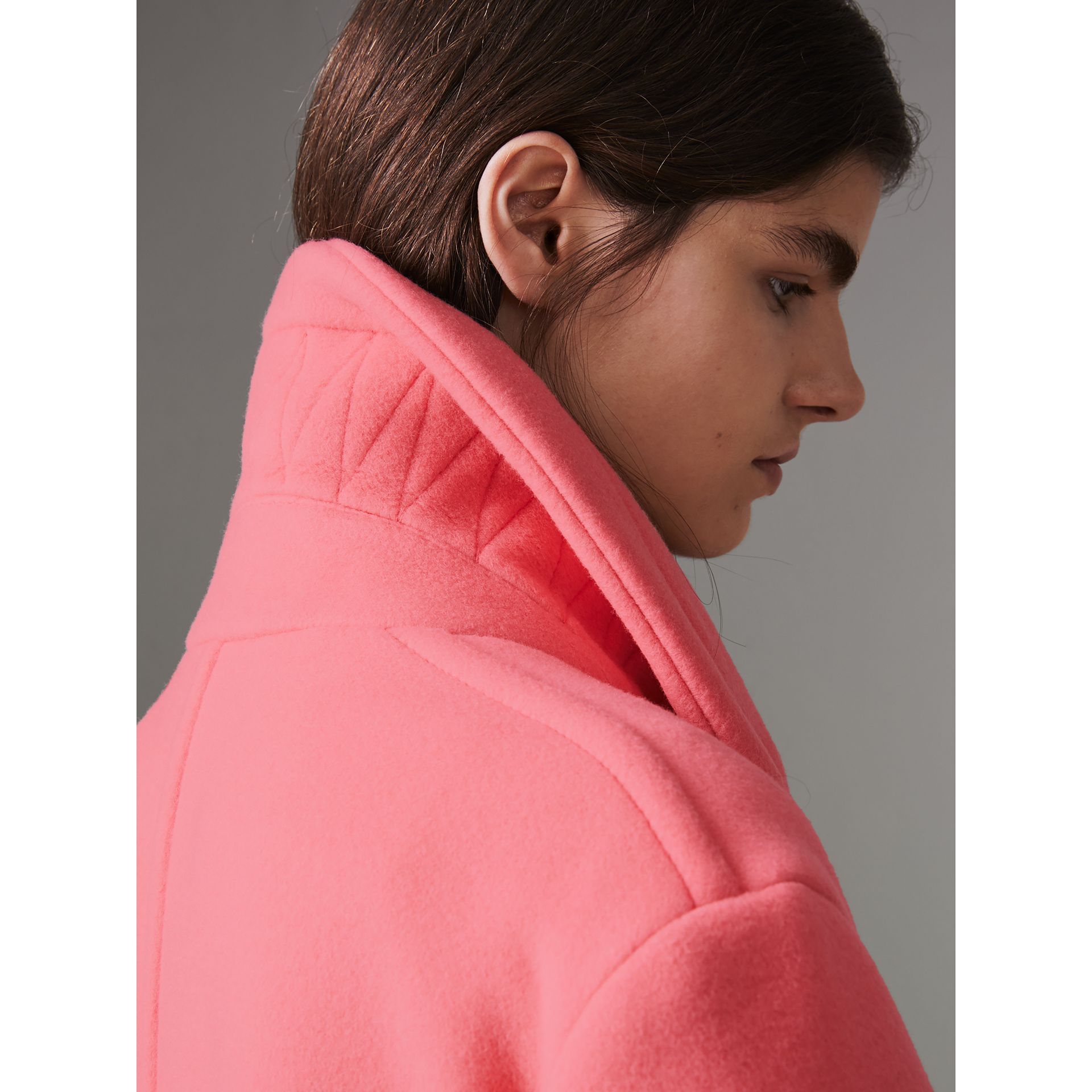 Double-faced Wool Cashmere Cocoon Coat in Bright Coral Pink | Burberry - gallery image 4