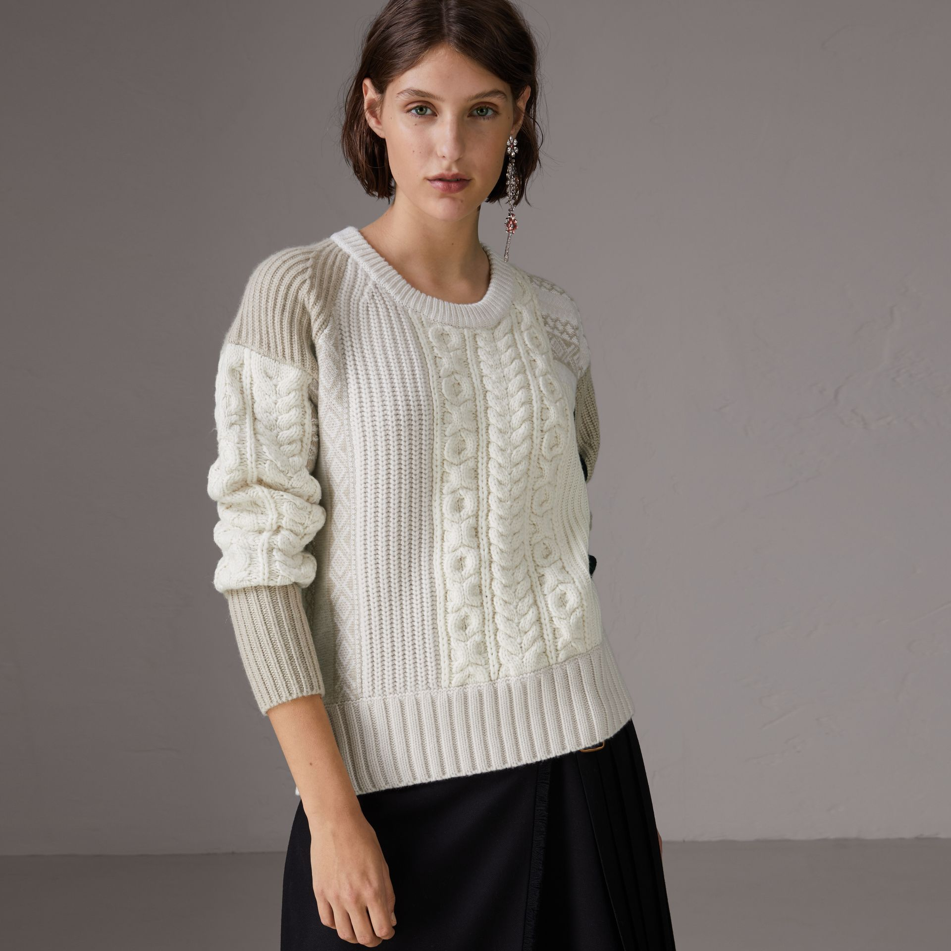Colour Block Fair Isle and Cable Knit Wool Cashmere Sweater in Ivory - Women | Burberry - gallery image 0