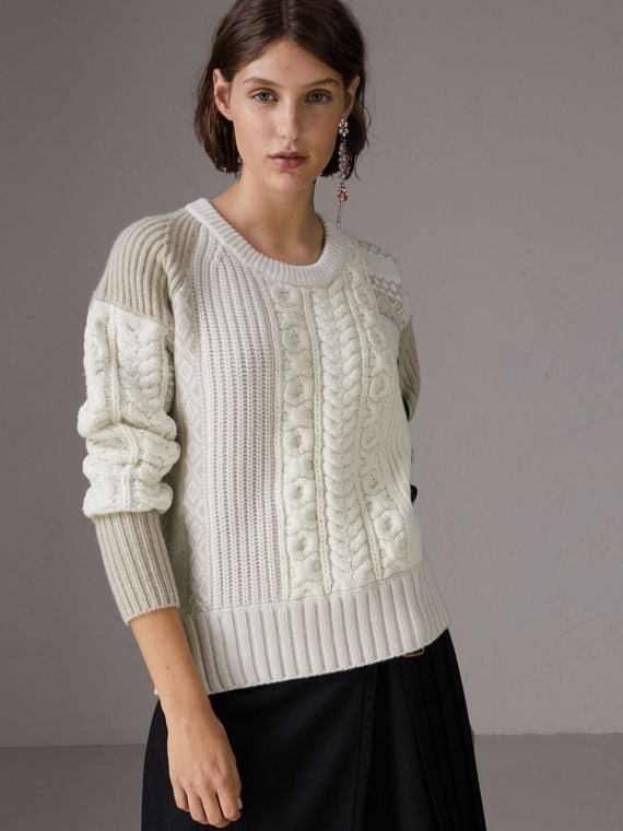 Colour Block Fair Isle and Cable Knit Wool Cashmere Sweater in Ivory