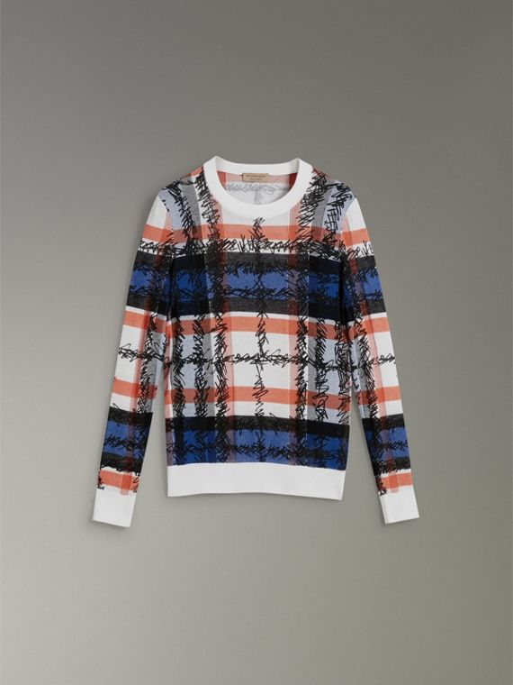 Scribble Check Cotton Sweater in Cobalt Blue - Women | Burberry - cell image 3