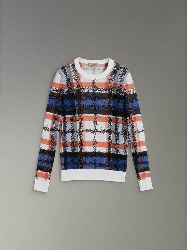 Scribble Check Cotton Sweater in Cobalt Blue - Women | Burberry Canada - cell image 3