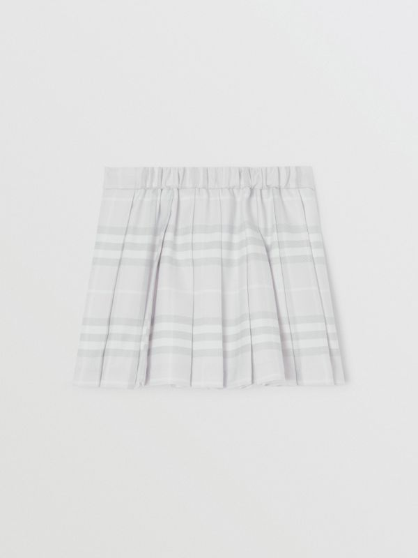 Vintage Check Wool Pleated Wrap Skirt in Pale Grey - Children | Burberry United Kingdom - cell image 3