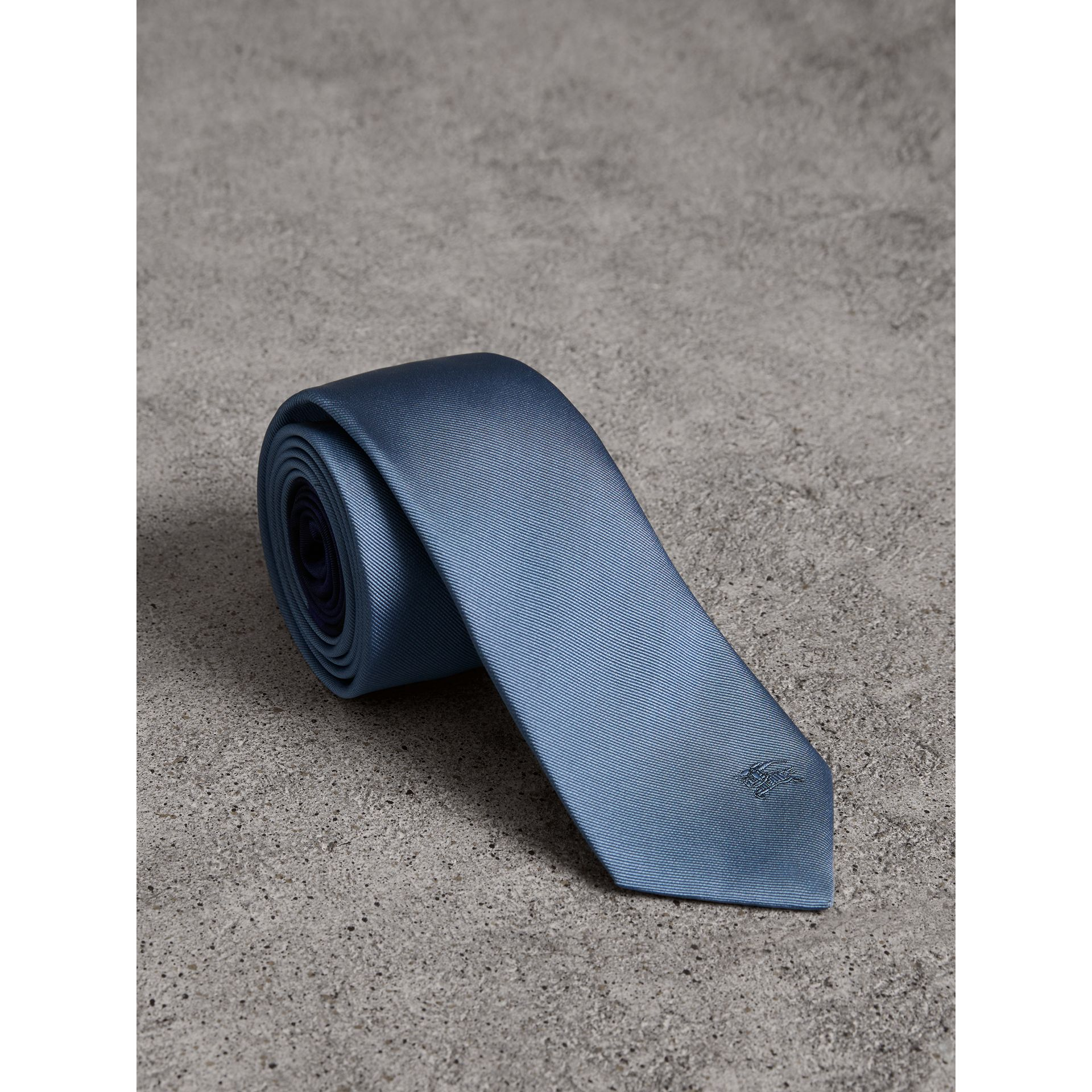 Slim Cut Check Silk Twill Tie in Chalk Blue - Men | Burberry - gallery image 1