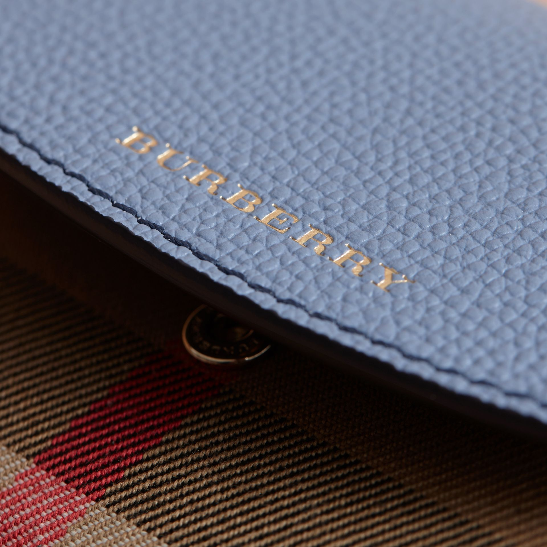 House Check and Leather Wallet in Slate Blue - Women | Burberry - gallery image 1