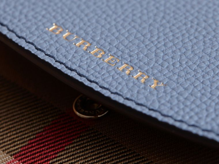 House Check and Leather Wallet in Slate Blue - Women | Burberry United Kingdom - cell image 1