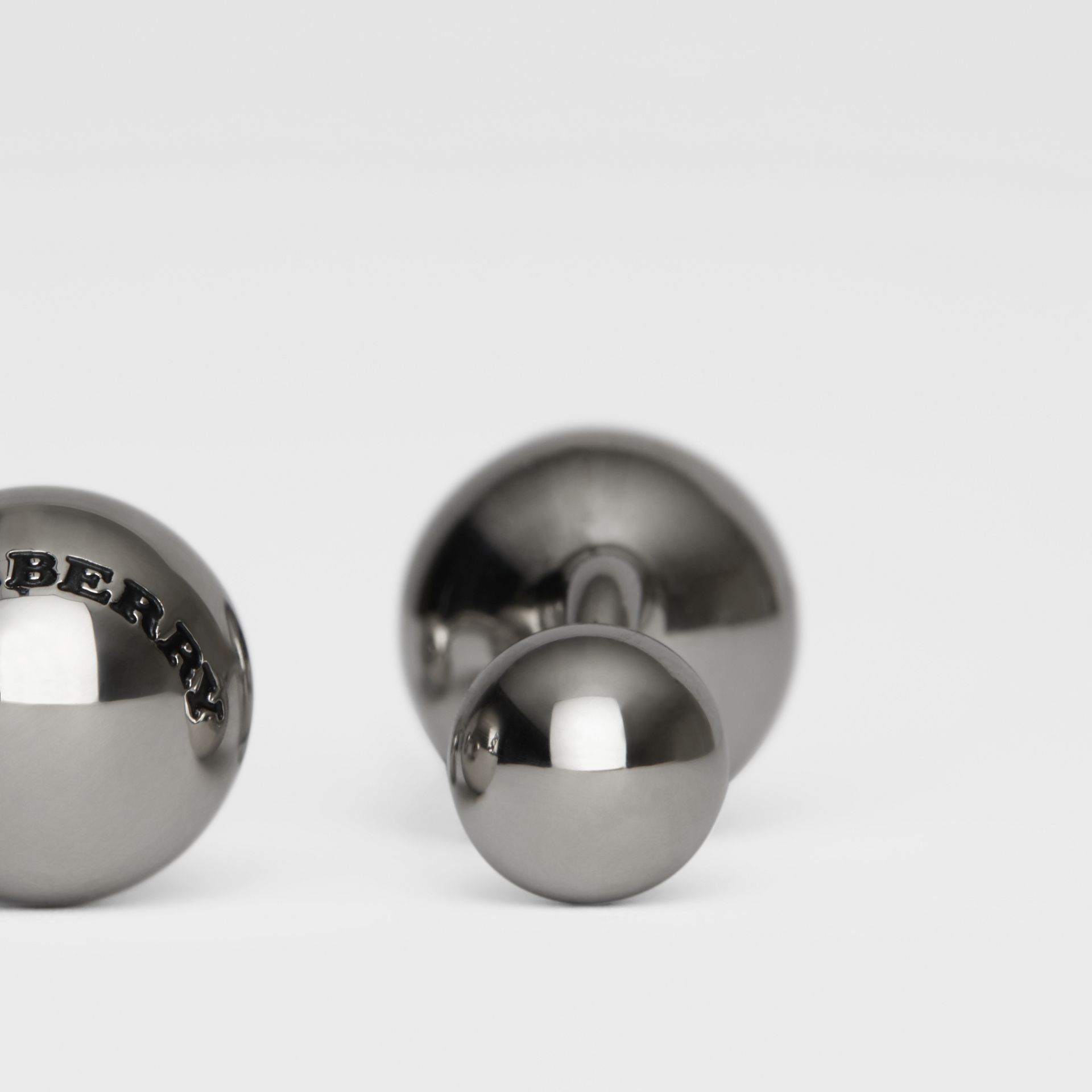 Engraved Brass Sphere Cufflinks in Silver - Men | Burberry United Kingdom - gallery image 1