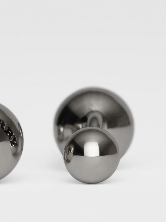 Engraved Brass Sphere Cufflinks in Silver - Men | Burberry United Kingdom - cell image 1