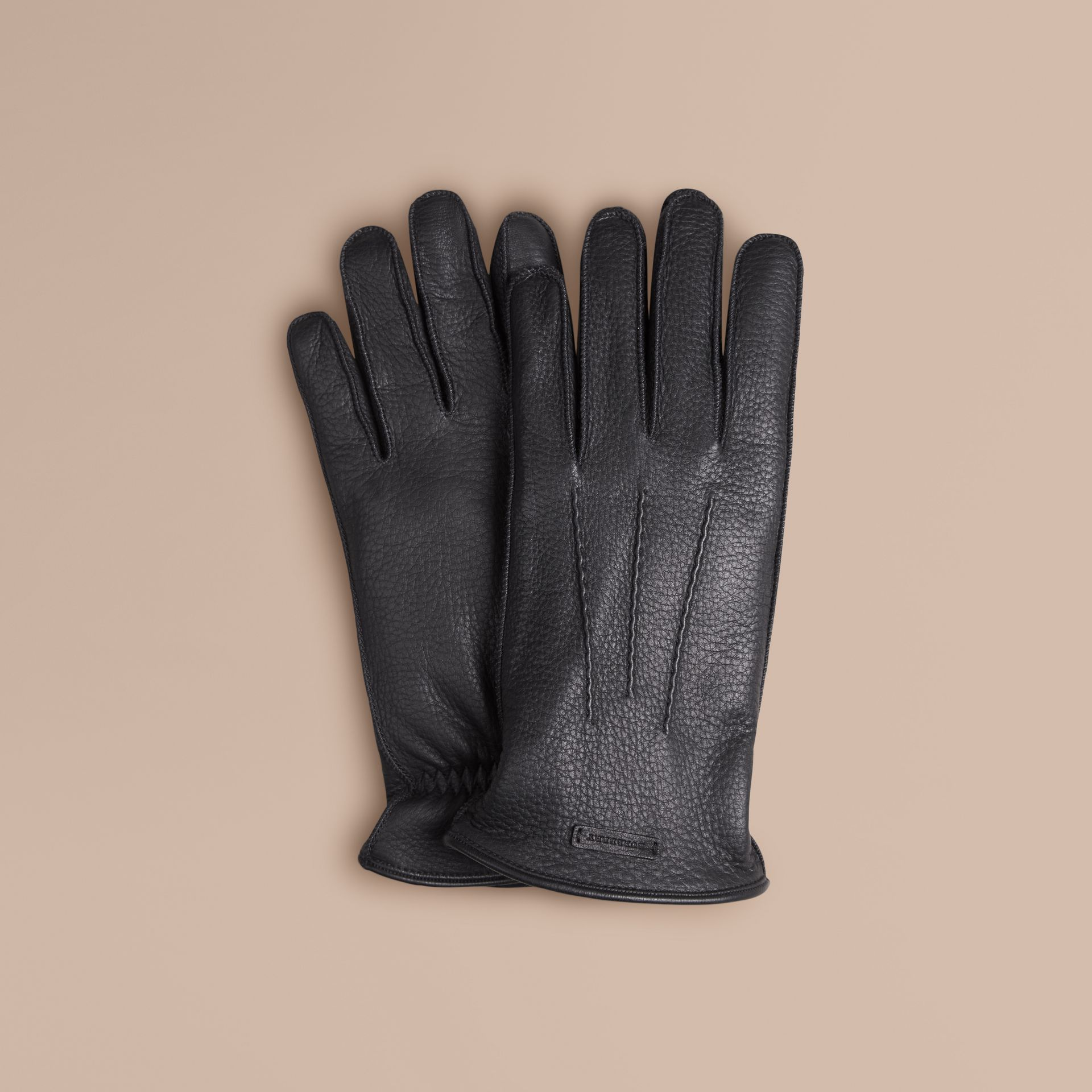 Black Fur Lined Deerskin Gloves - gallery image 1