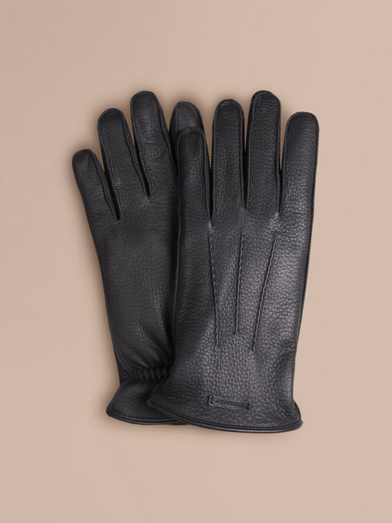 Fur Lined Deerskin Gloves - Men | Burberry Singapore