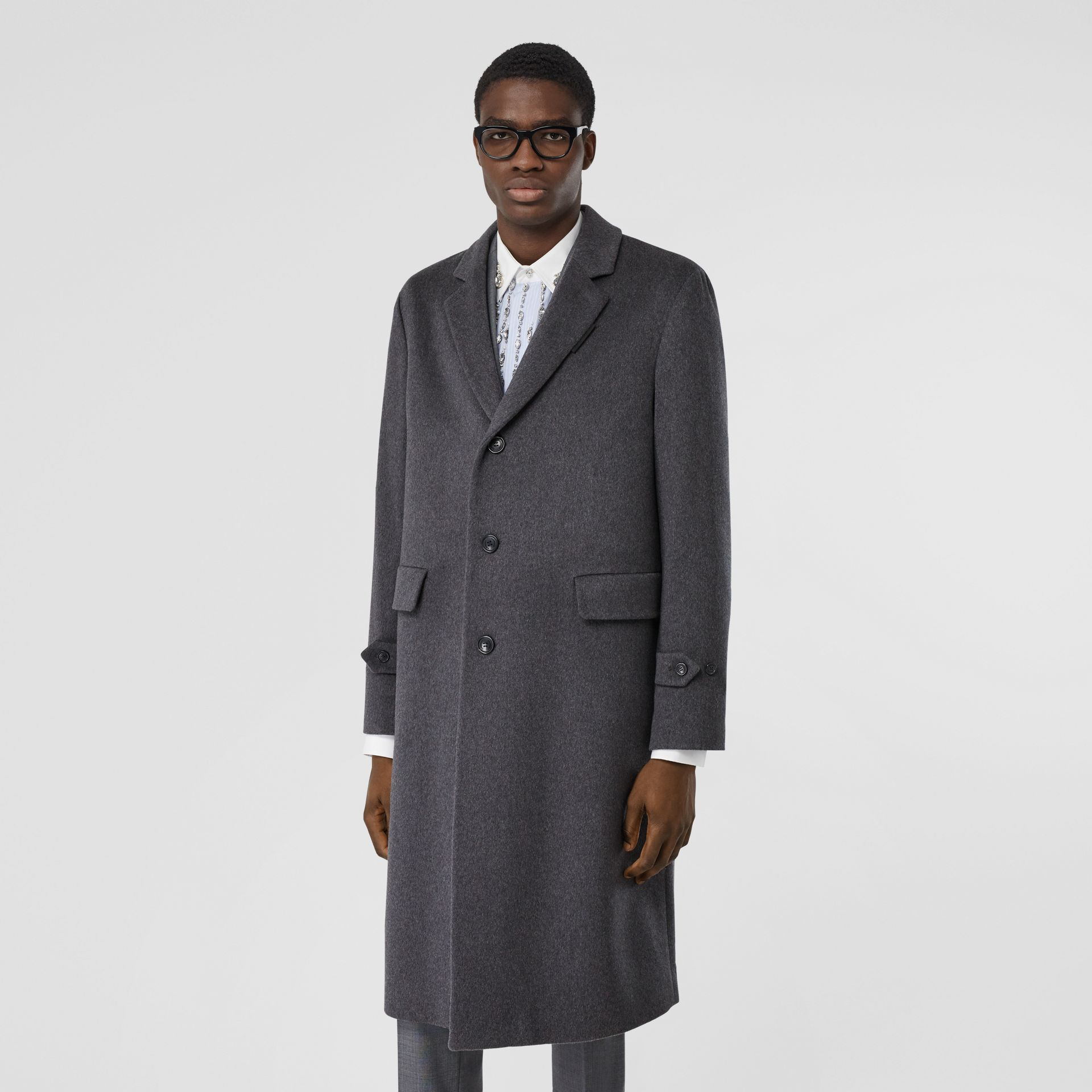 Cashmere Lab Coat in Pewter Melange - Men   Burberry - gallery image 5