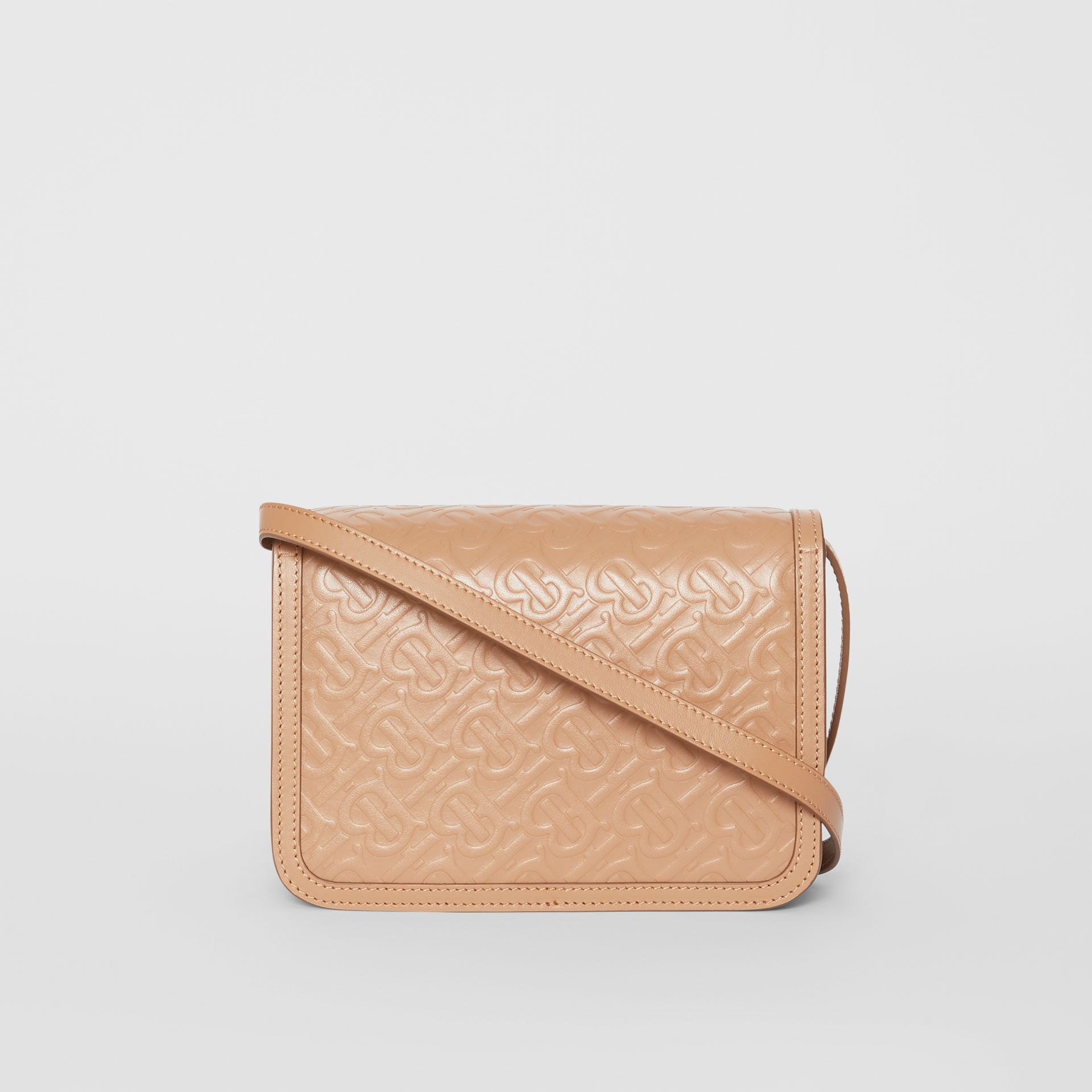 Small Monogram Leather TB Bag in Light Camel - Women | Burberry - gallery image 7
