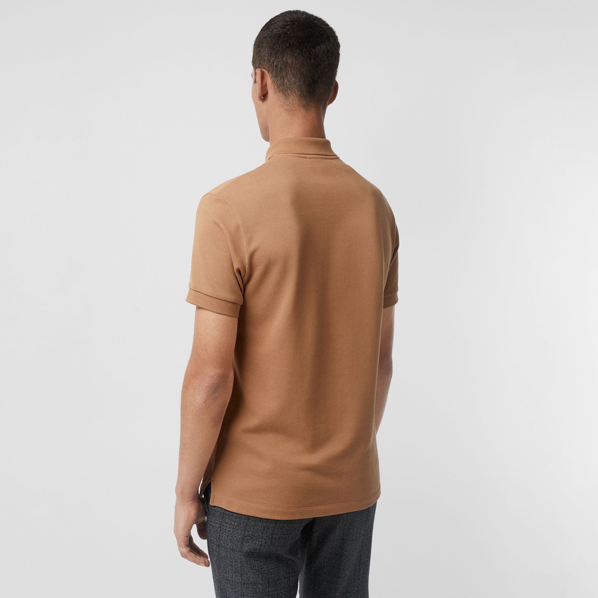 Check Placket Cotton Polo Shirt in Camel - Men | Burberry Canada - gallery image 2