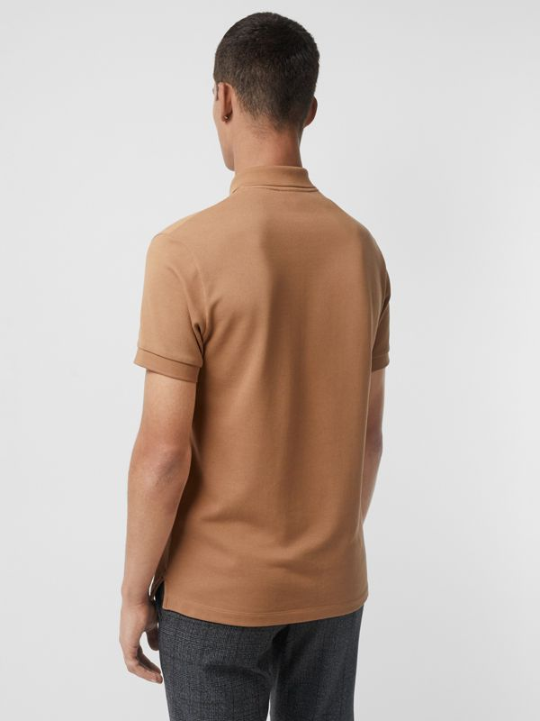 Check Placket Cotton Polo Shirt in Camel - Men | Burberry - cell image 2