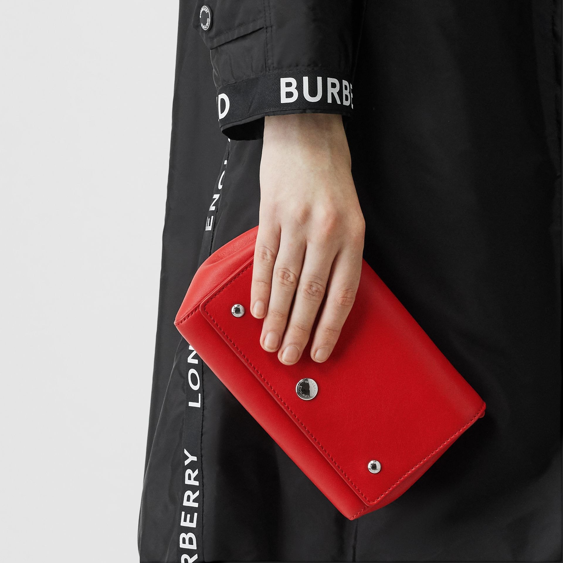 Small Quote Print Grainy Leather Crossbody Bag in Bright Military Red - Women | Burberry - gallery image 2