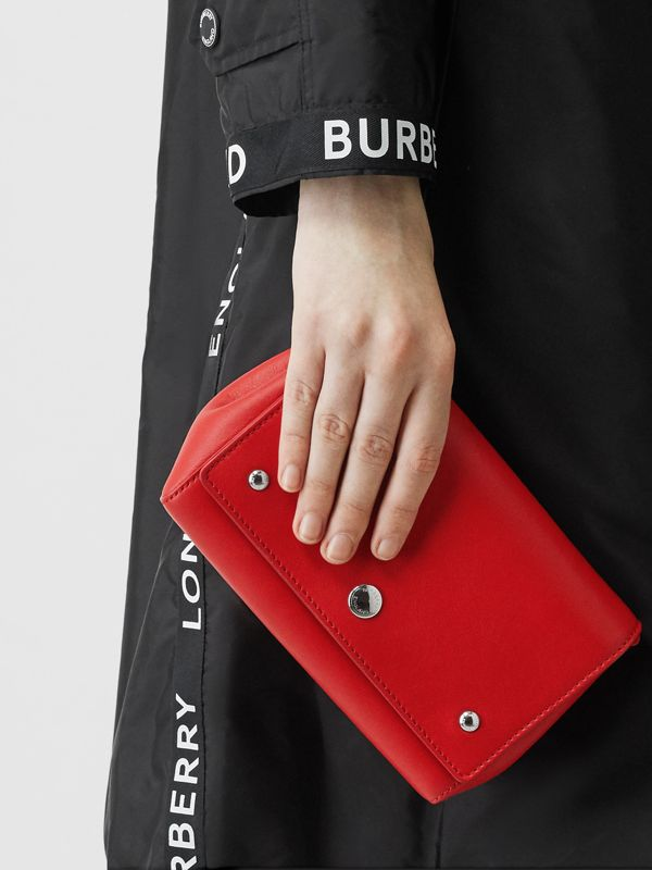 Small Quote Print Grainy Leather Crossbody Bag in Bright Military Red - Women | Burberry - cell image 2
