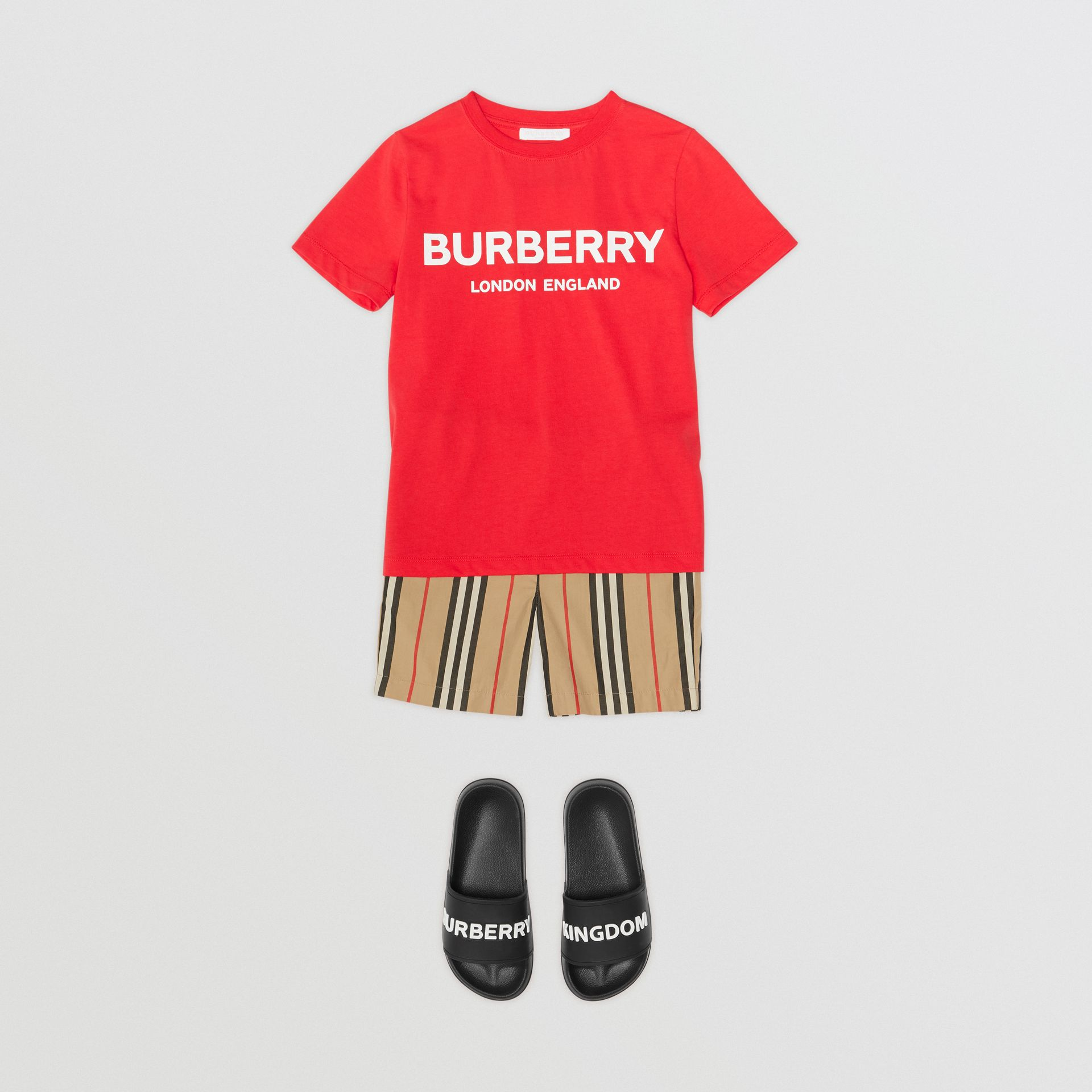 Logo Print Cotton T-shirt in Bright Red | Burberry Australia - gallery image 3