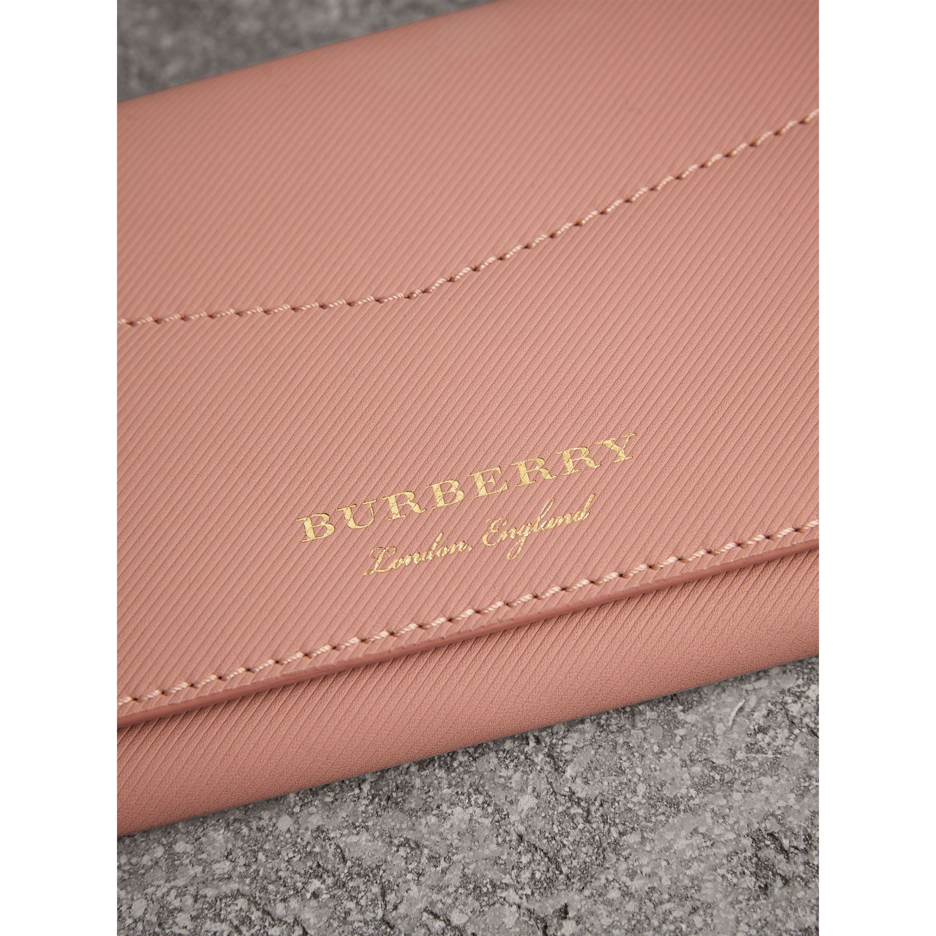 Trench Leather Envelope Wallet in Ash Rose/pale Clementine - Women | Burberry Canada - gallery image 1