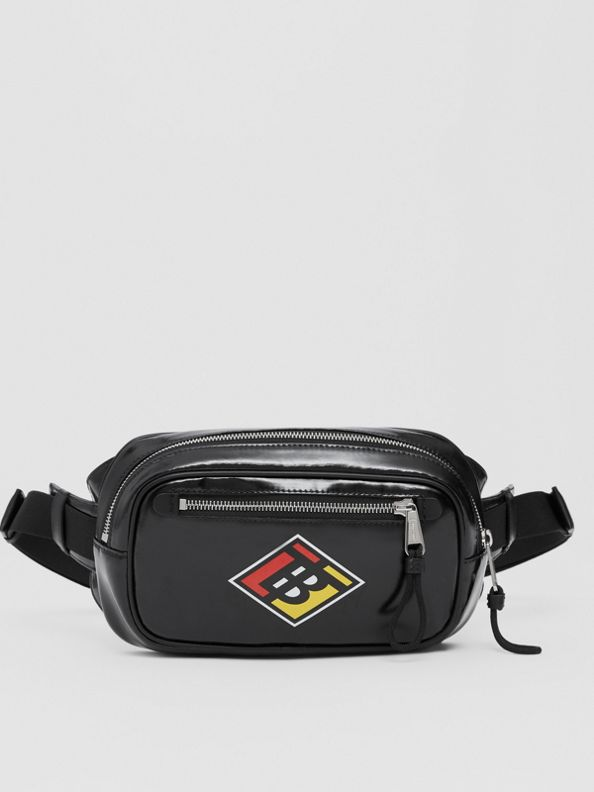Logo Graphic Coated Canvas Bum Bag in Black