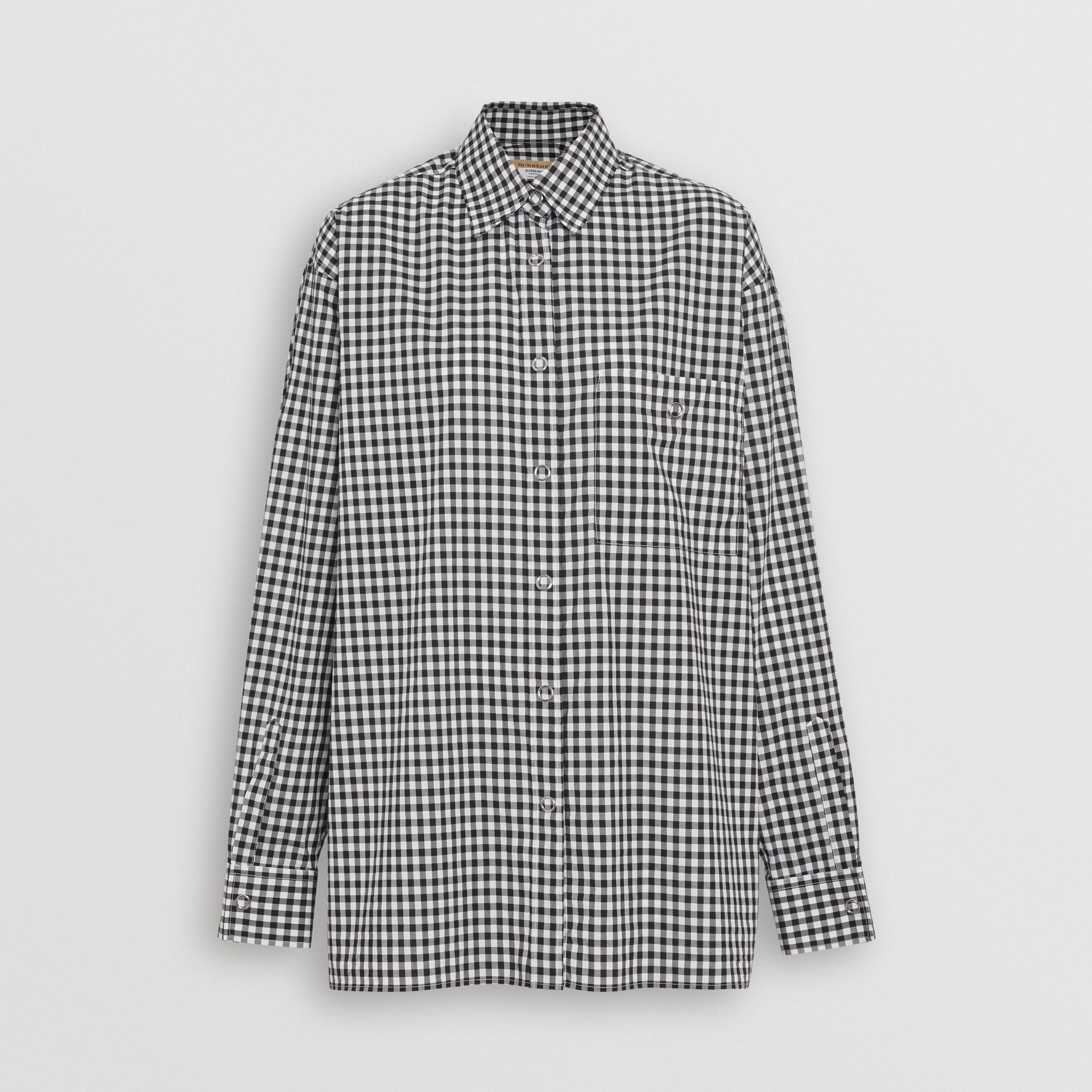 Puff-sleeve Gingham Cotton Oversized Shirt in Black/white - Women | Burberry - gallery image 3