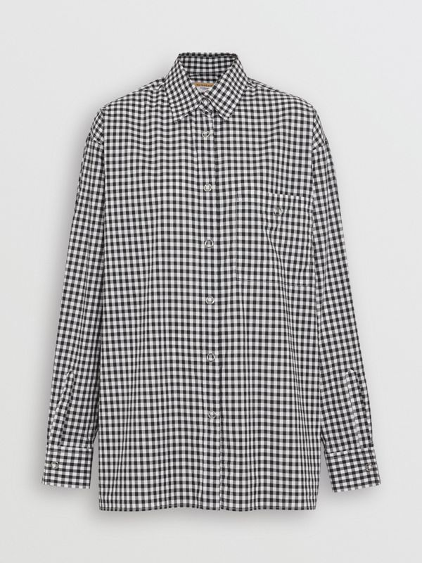 Puff-sleeve Gingham Cotton Oversized Shirt in Black/white - Women | Burberry Canada - cell image 3