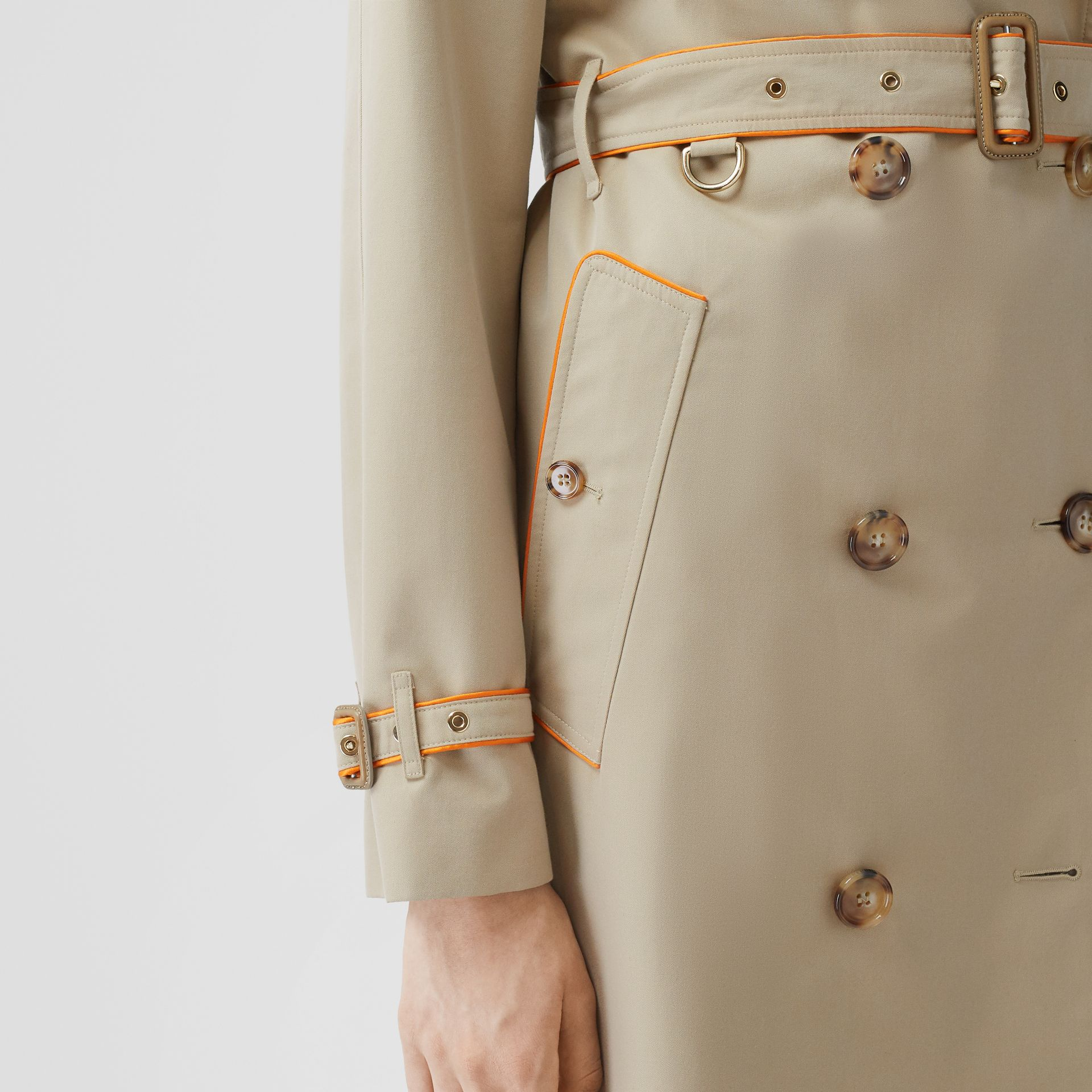Piped Cotton Gabardine Trench Coat in Honey - Women | Burberry - gallery image 4