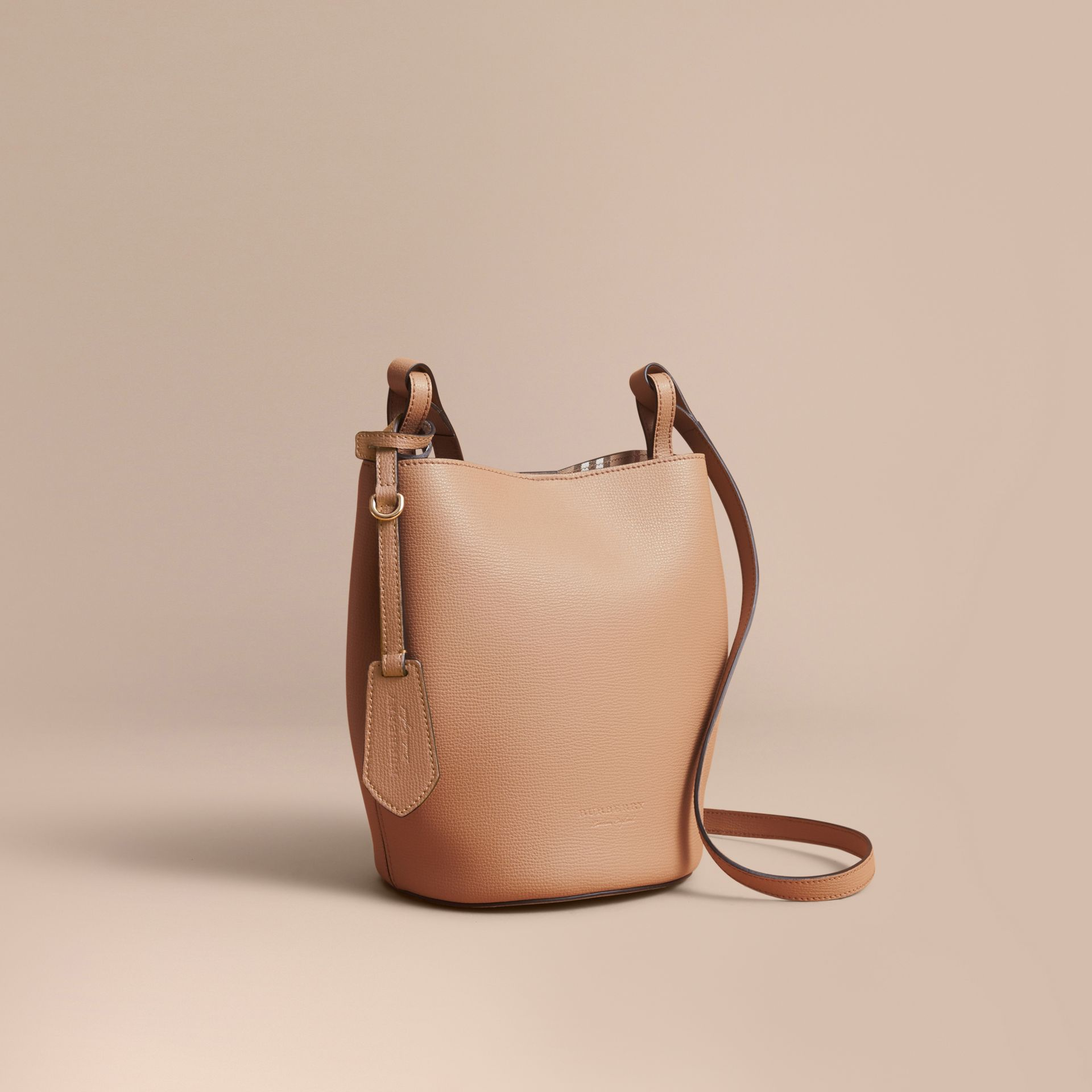 Leather and Haymarket Check Crossbody Bucket Bag in Mid Camel - Women | Burberry United Kingdom - gallery image 1