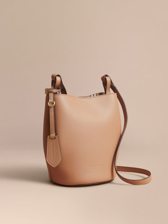 Leather and Haymarket Check Crossbody Bucket Bag in Mid Camel