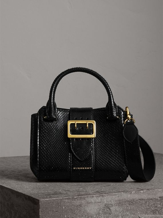 The Small Buckle Tote in Python in Black