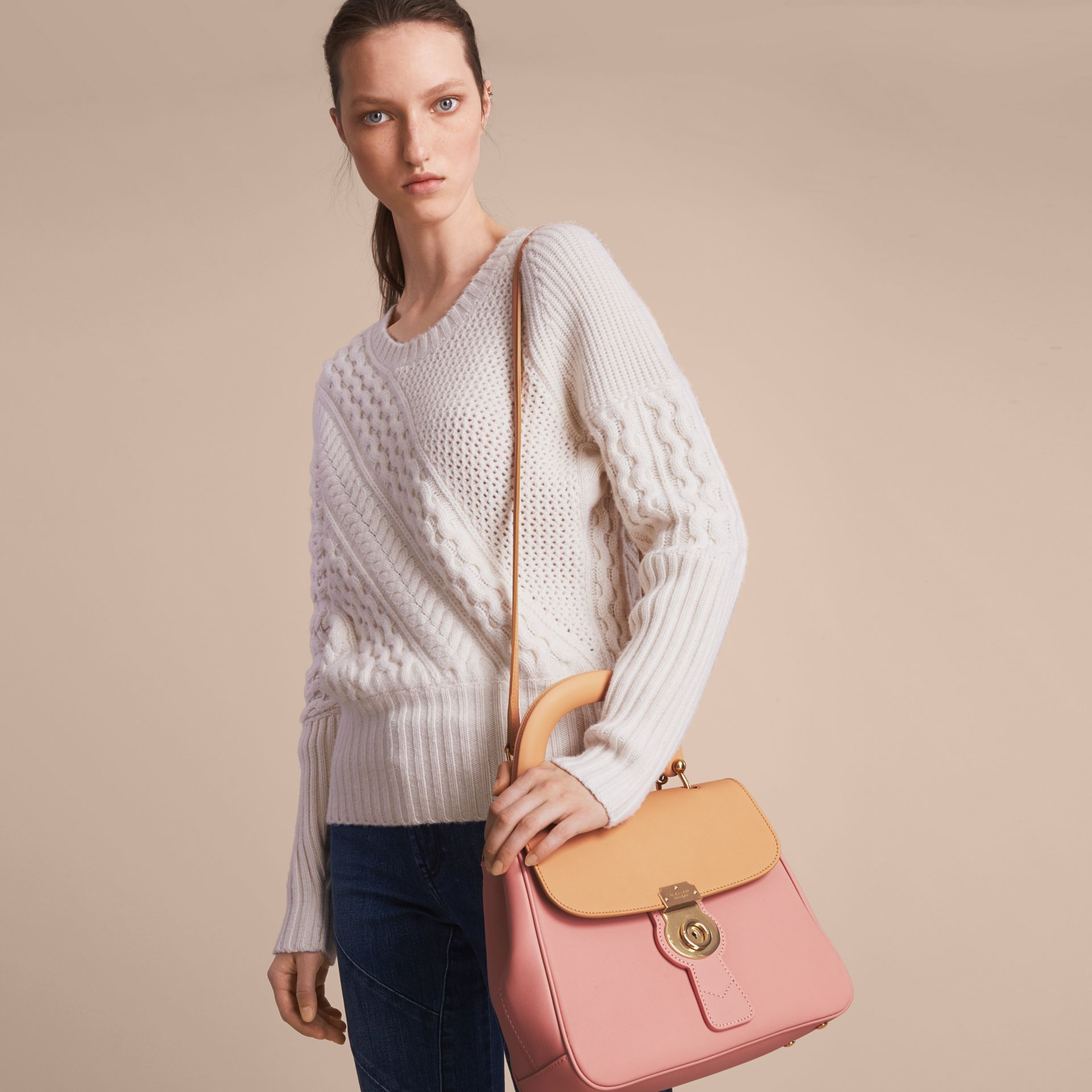 The Medium DK88 Top Handle Bag in Ash Rose/pale Clementine - Women | Burberry United Kingdom - gallery image 7