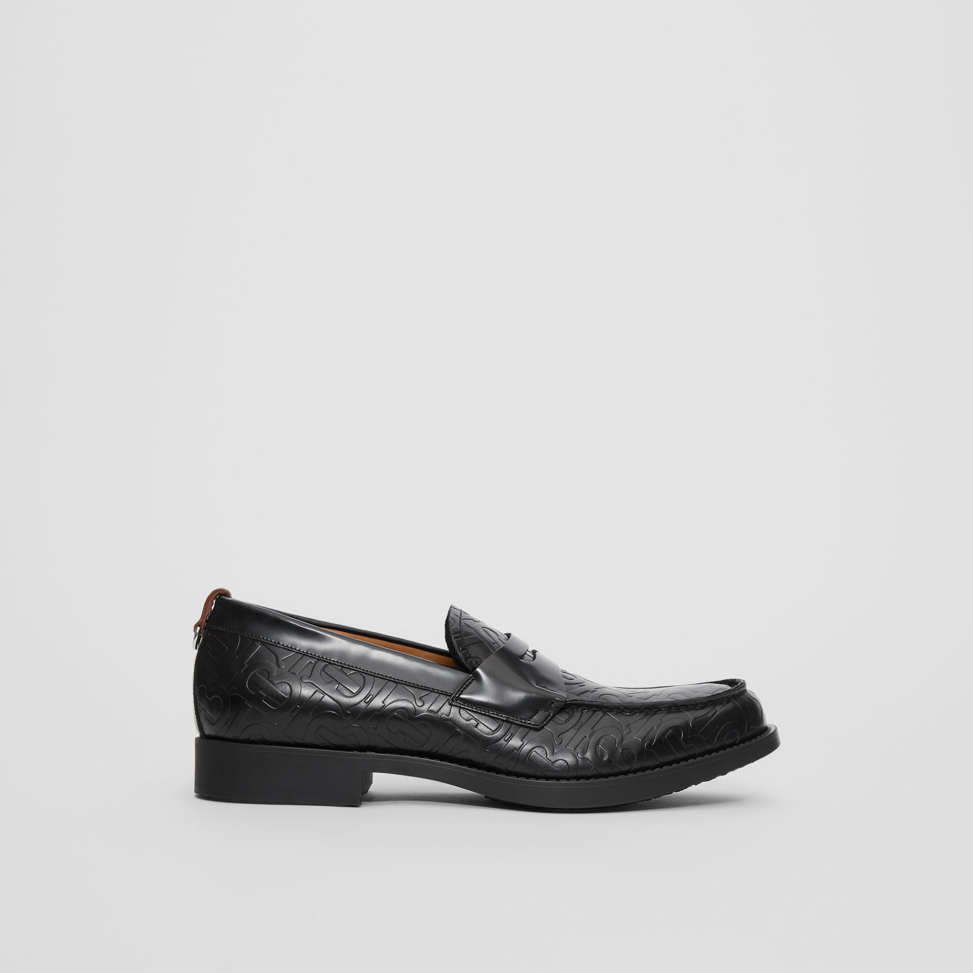 D-ring Detail Monogram Leather Loafers in Black - Men | Burberry - gallery image 4