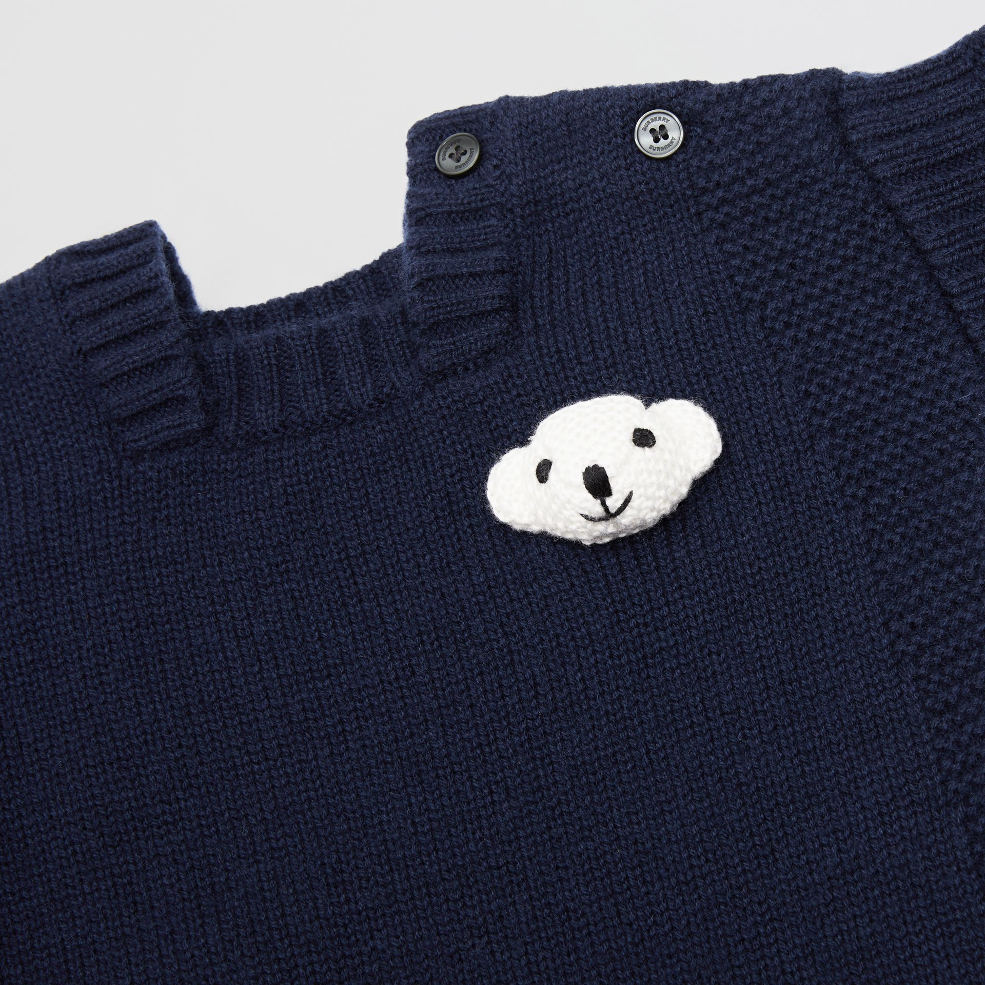 Thomas Bear Detail Wool Cashmere Jumpsuit in Navy - Children | Burberry United States - gallery image 1