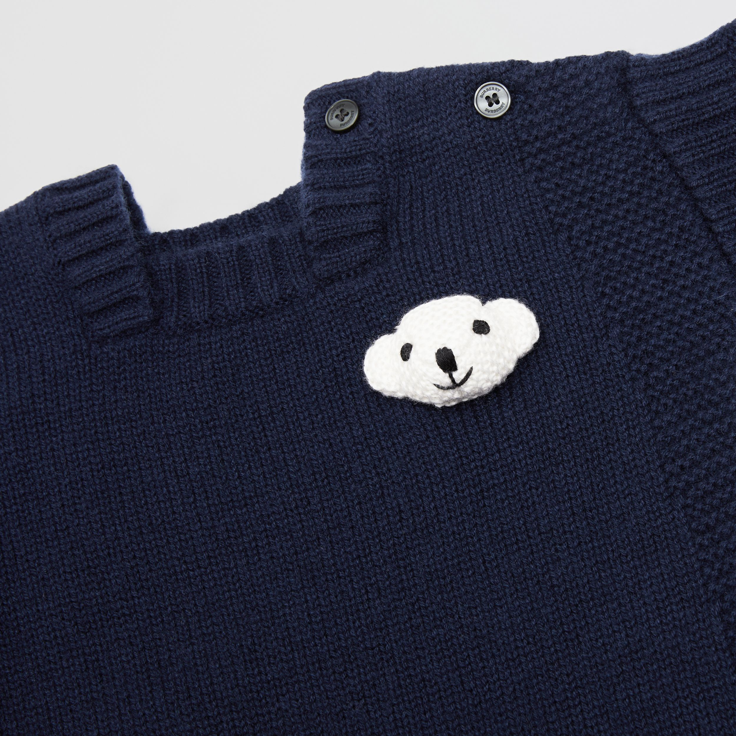 Thomas Bear Detail Wool Cashmere Jumpsuit in Navy - Children | Burberry - 2