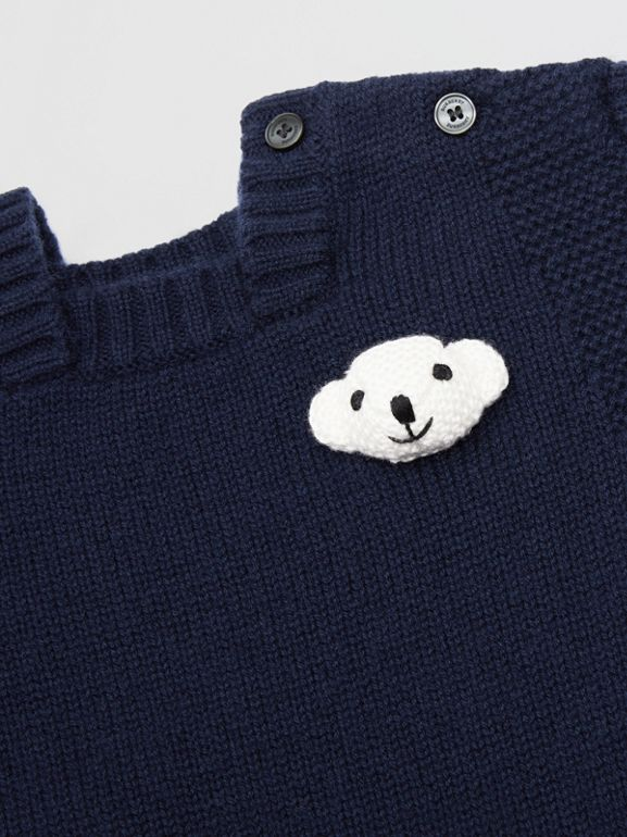Thomas Bear Detail Wool Cashmere Jumpsuit in Navy - Children | Burberry - cell image 1