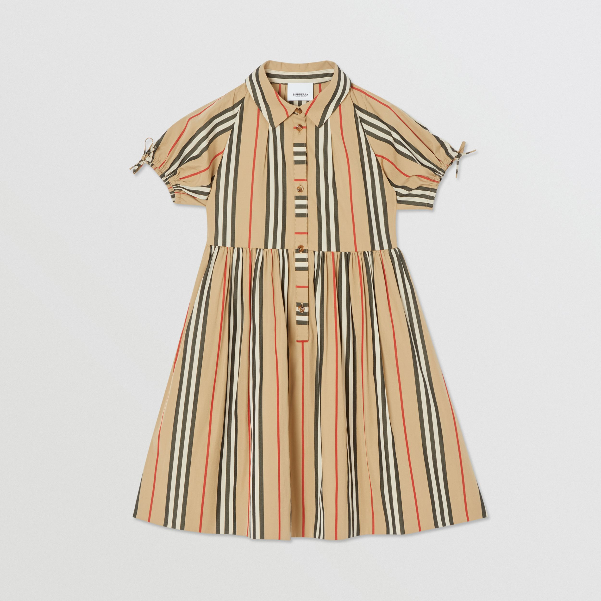 Icon Stripe Cotton Poplin Dress in Archive Beige | Burberry - 1