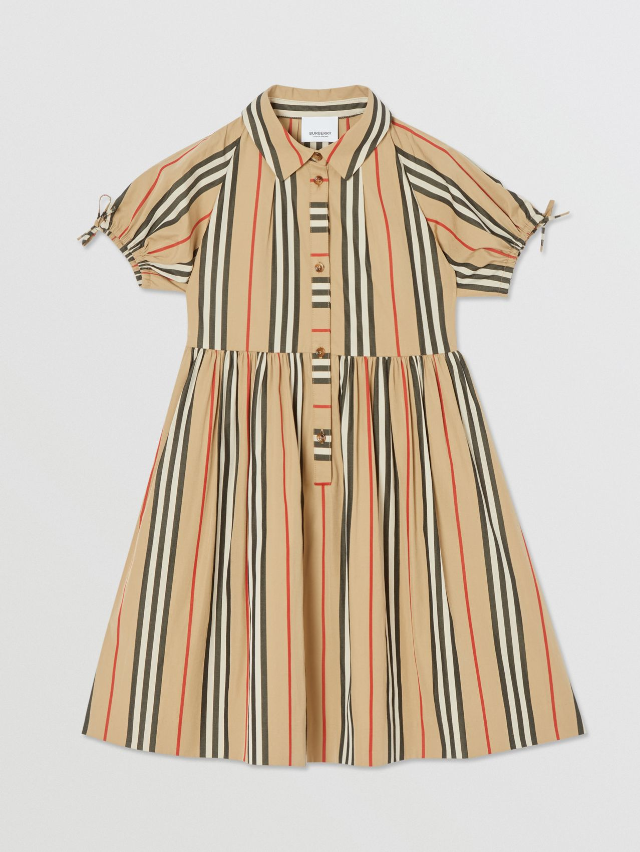 Icon Stripe Cotton Poplin Dress in Archive Beige