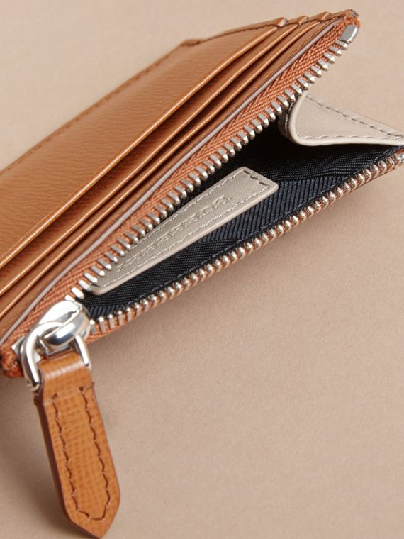 London Leather Zip-top Card Case in Tan | Burberry - cell image 3