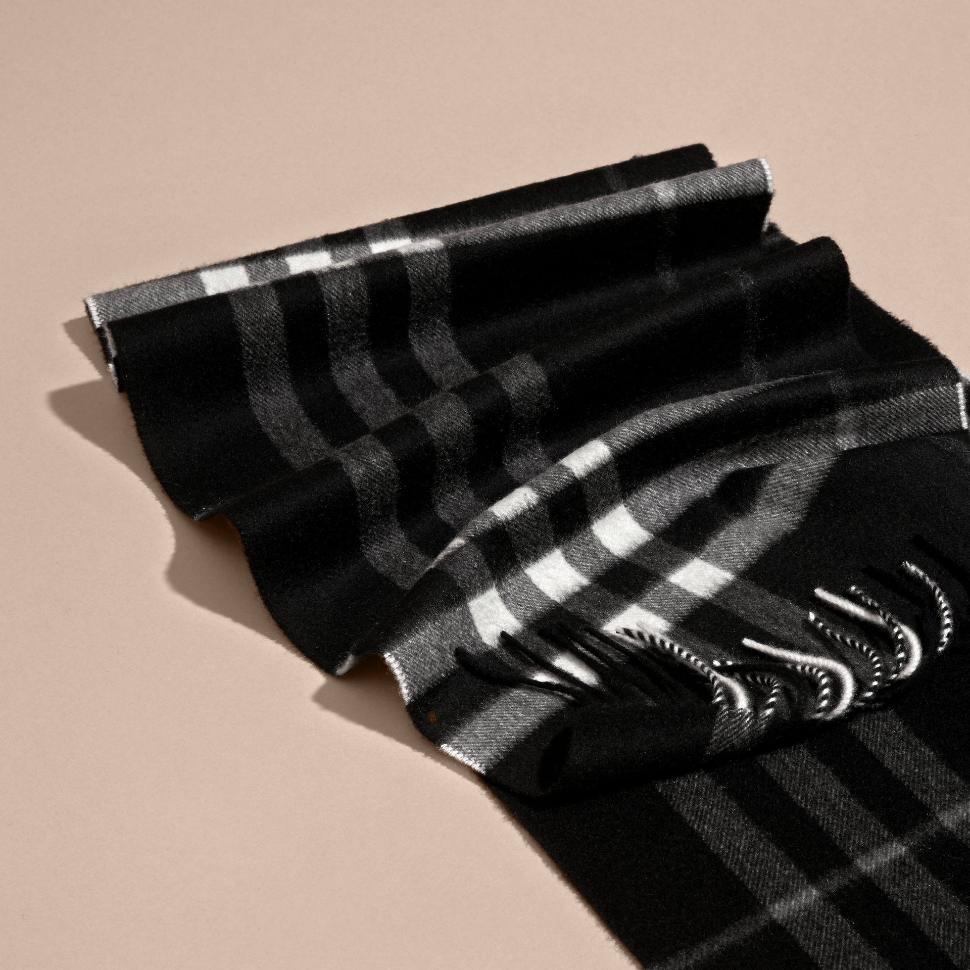 The Classic Cashmere Scarf in Check  in Black - gallery image 5