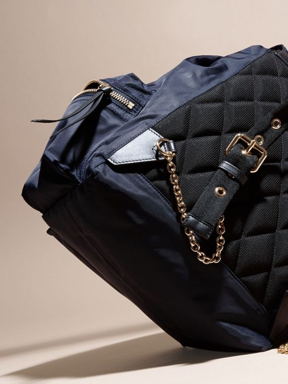 The Large Rucksack in Technical Nylon and Leather in Ink Blue - cell image 3