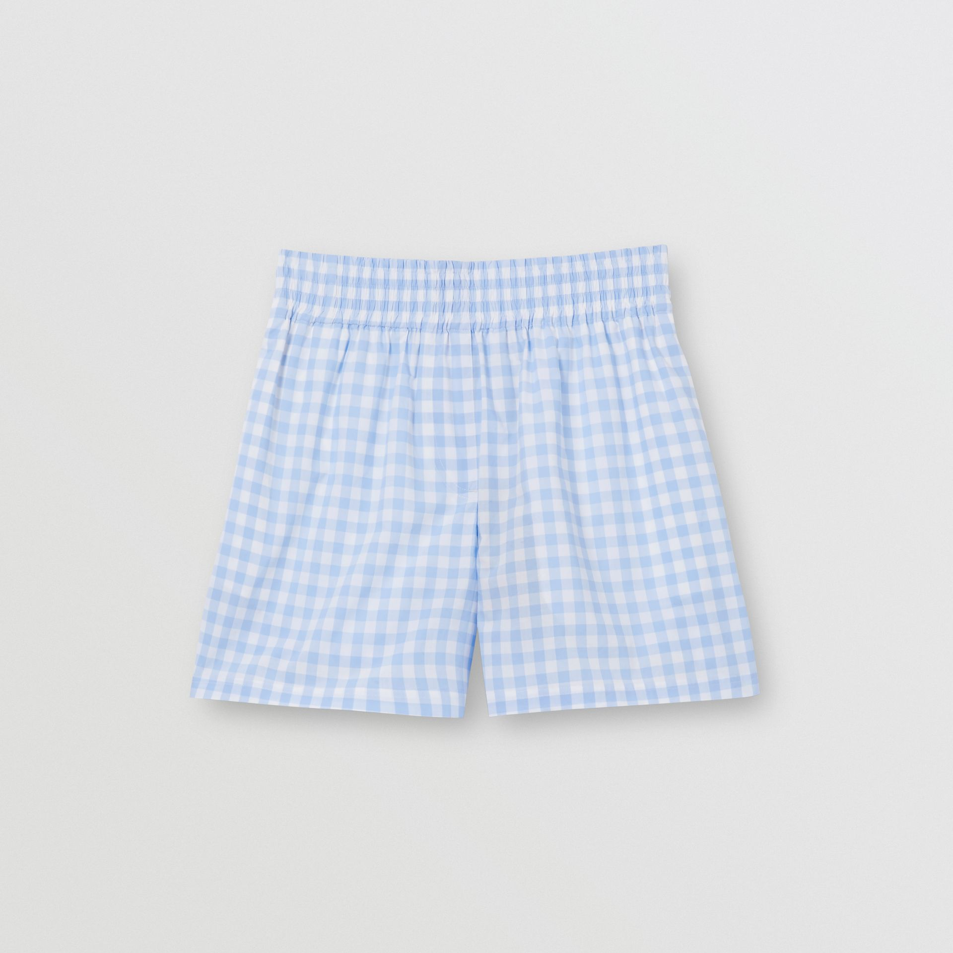 Gingham Cotton Shorts in Pale Blue - Women | Burberry - gallery image 3