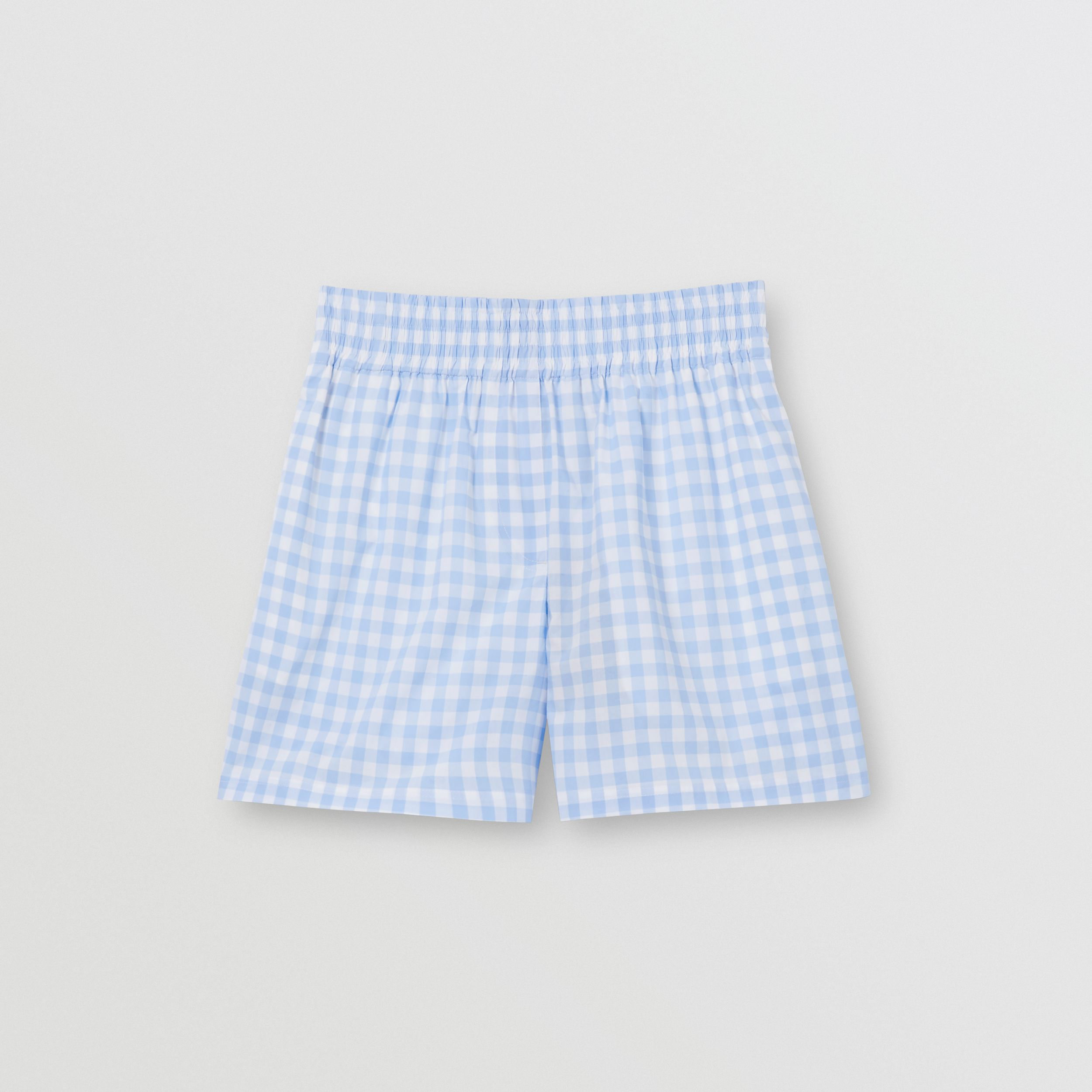Gingham Cotton Shorts in Pale Blue - Women | Burberry - 4