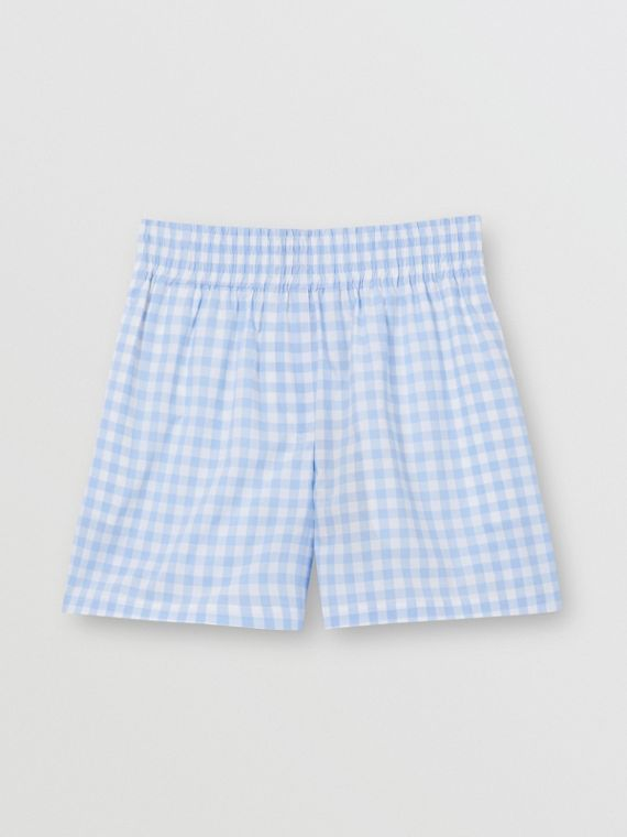 Gingham Cotton Shorts in Pale Blue