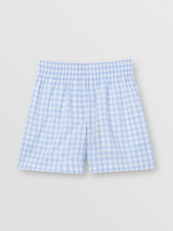 Gingham Cotton Shorts in Pale Blue - Women | Burberry - cell image 3