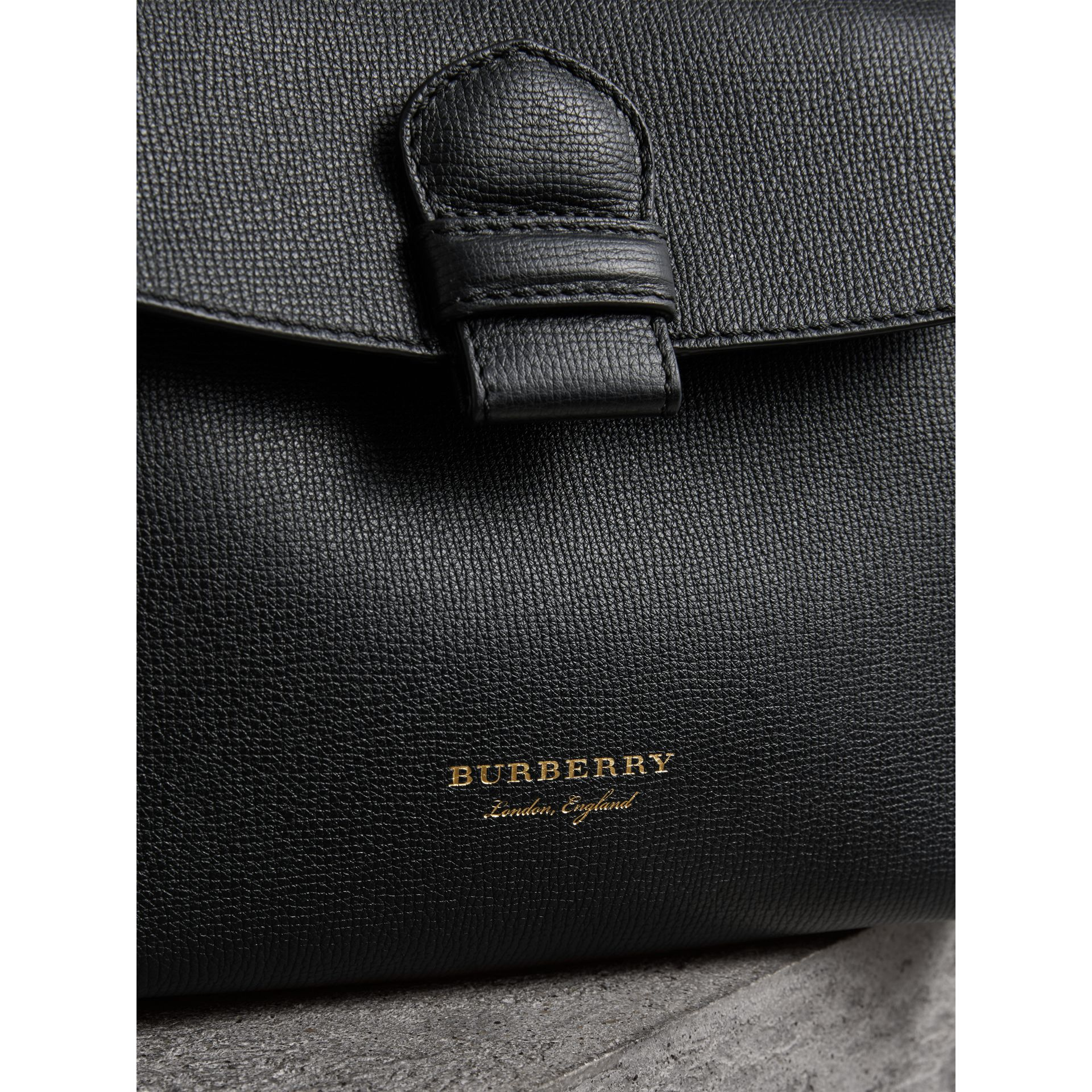 Small Grainy Leather and House Check Tote Bag in Black - Women | Burberry United States - gallery image 1