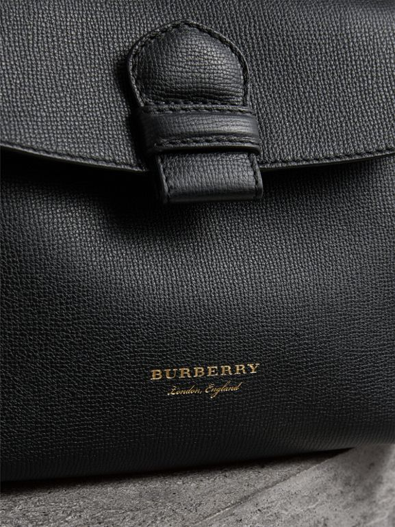 Small Grainy Leather and House Check Tote Bag in Black - Women | Burberry - cell image 1