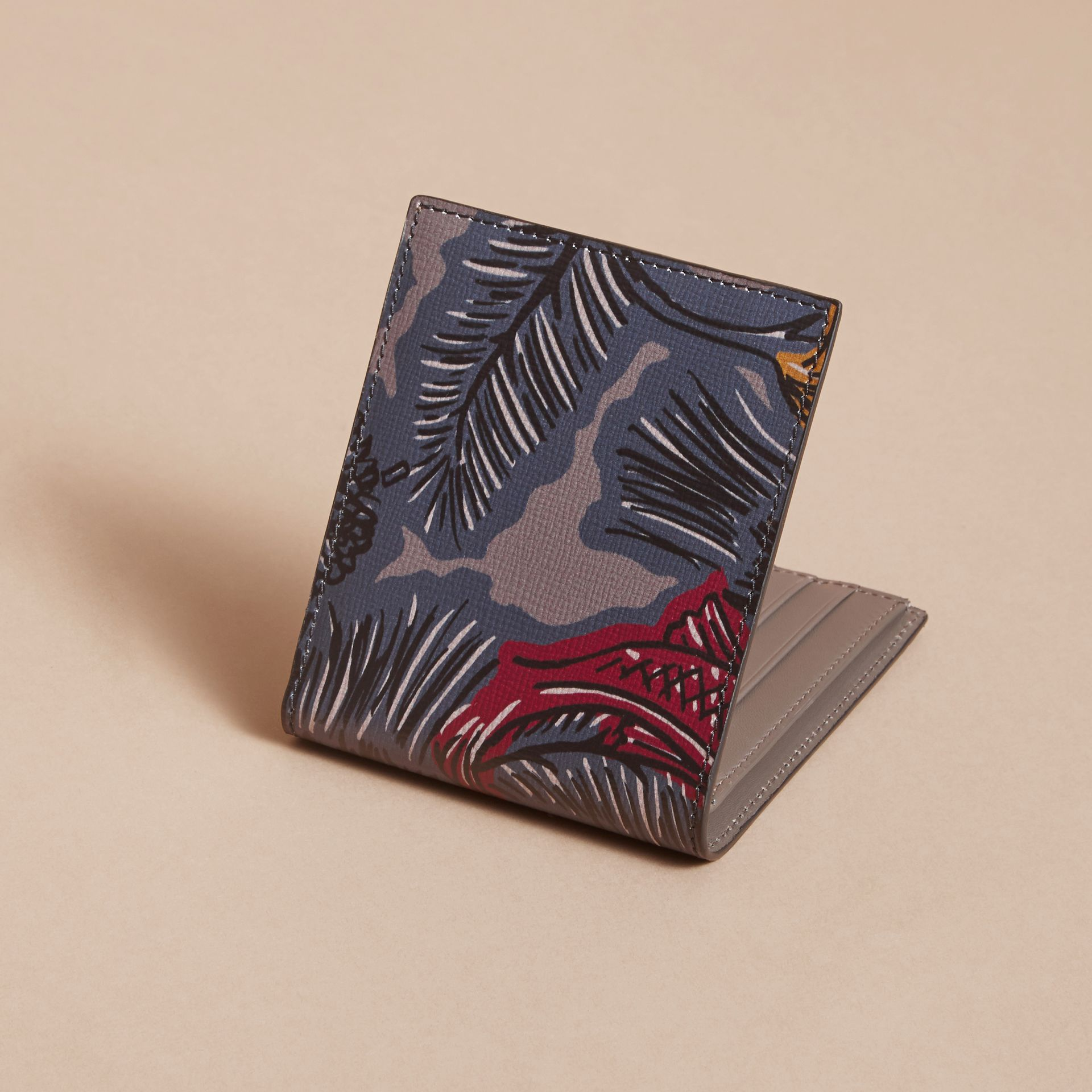 Beasts Print Leather Folding Wallet in Navy Grey - Men | Burberry - gallery image 3
