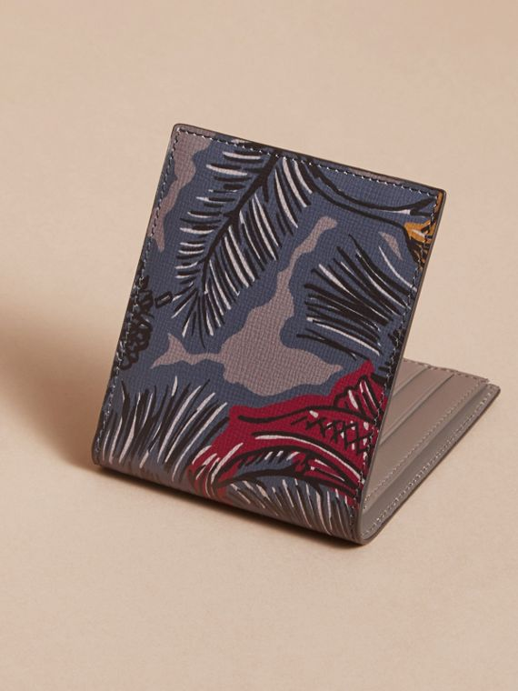 Beasts Print Leather Folding Wallet in Navy Grey - Men | Burberry - cell image 3
