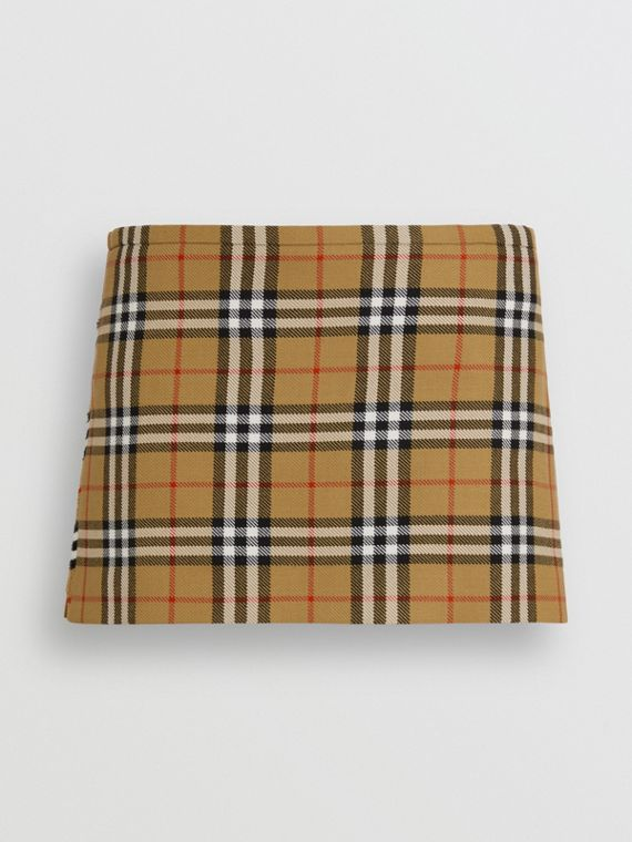 Mini-kilt en laine à motif Vintage check (Jaune Antique)